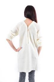 Długi gruby sweter z podwójnym suwakiem krem S/M