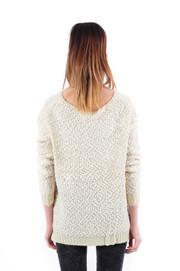 Puszysty sweter w ażurowe pasy j.beż S/M