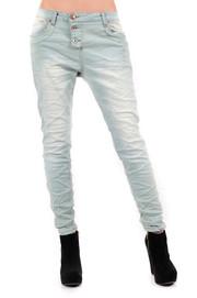 Spodnie boyfriend jasny jeans z przeszyciem S