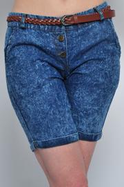 Szorty marmurki z cienkiego jeansu
