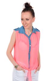 Bluzka top jeans z szyfonem łososiowy neon