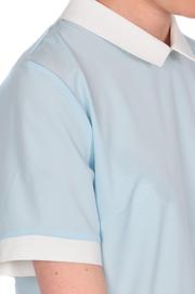 Bluzka koszulowa z kremowym kołnierzykiem błękitna