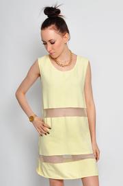Sukienka dresowa z wstawkami z siateczki żółta2