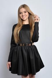 Sukienka piankowa mocno marszczona czarna S