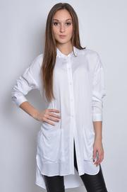 Długa koszula tunika z kieszeniami biała