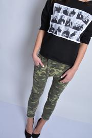 Spodnie jeans moro z obniżonym krokiem XS