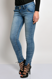 Spodnie jeansy skinny z mankietem S