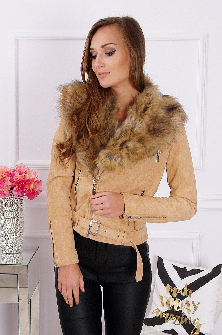 Camel semišová bunda s kožušinou Lux
