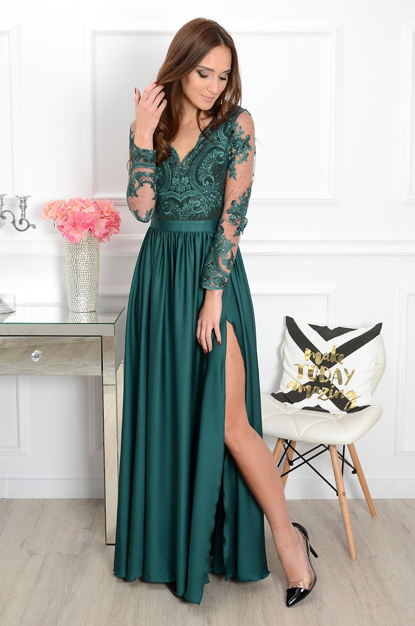 Sukienka Maxi Athena Długi Rękaw Butelkowa Zieleń