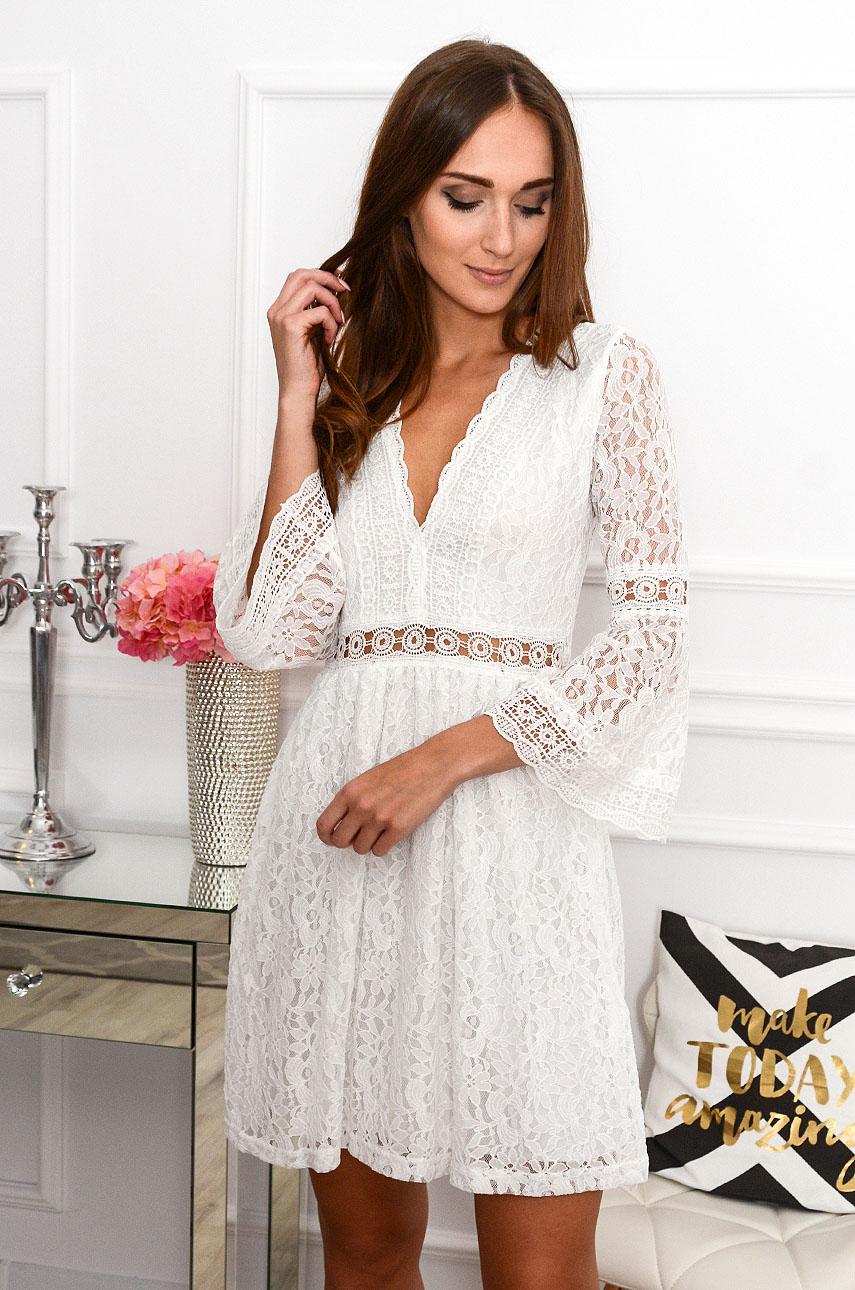 Biele krajkované boho šaty Malta