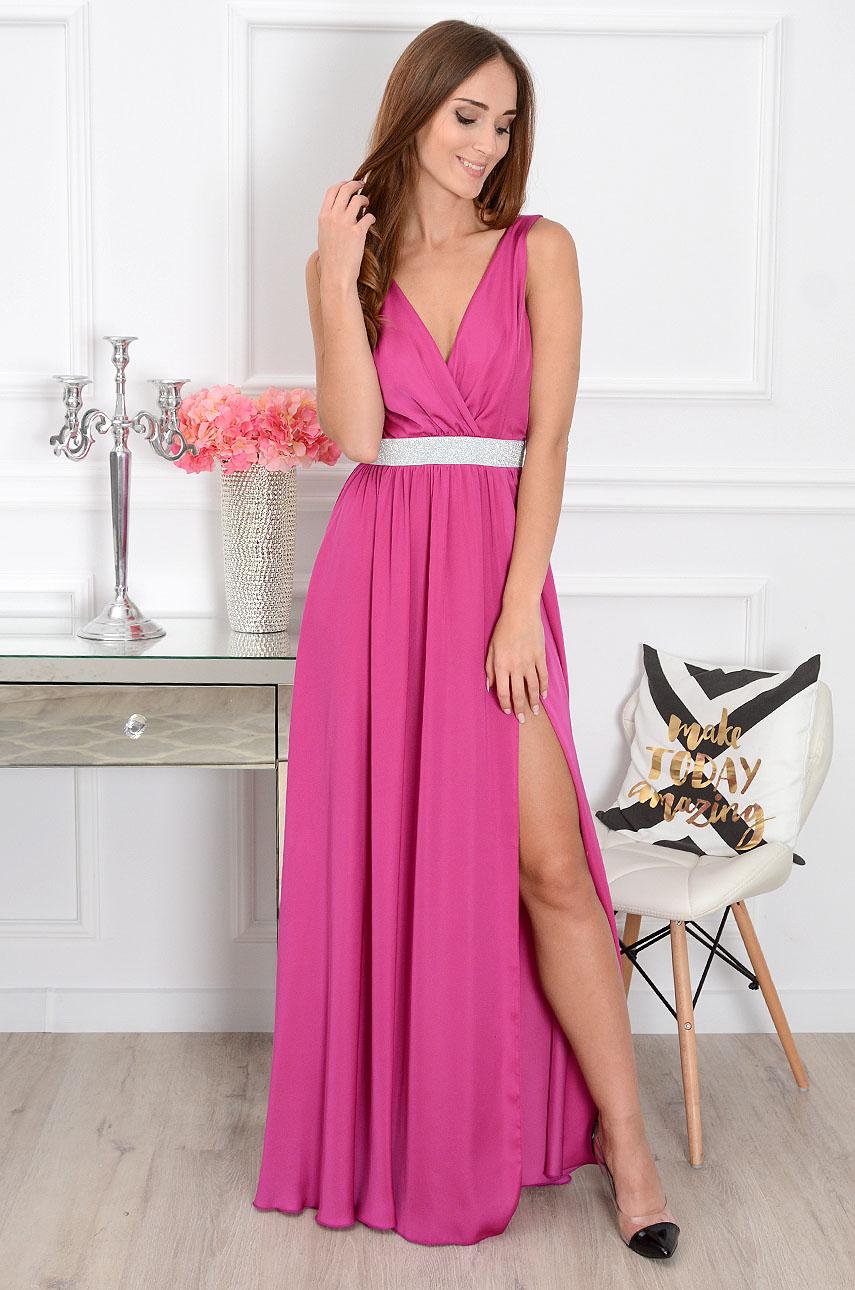 Ružové šaty so strieborným pásom Lavidia