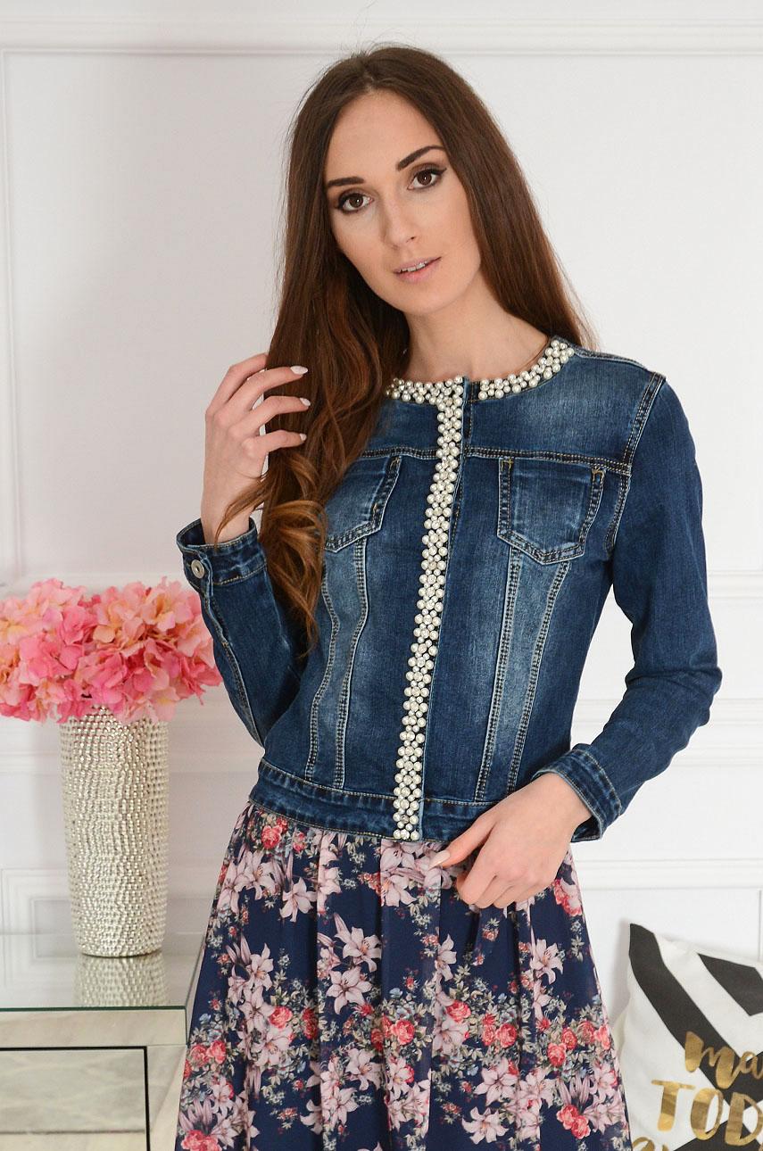 Tmavomodrá džínsová bunda s perlami Marta
