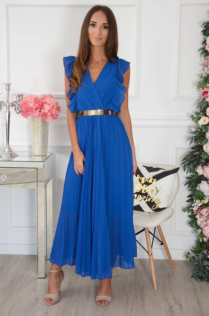 Kráľovské modré plisované šaty Verda