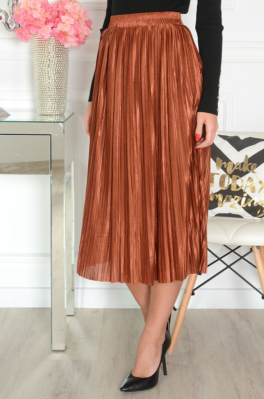 Saténová škoricovo-hnedá sukňa Cobre