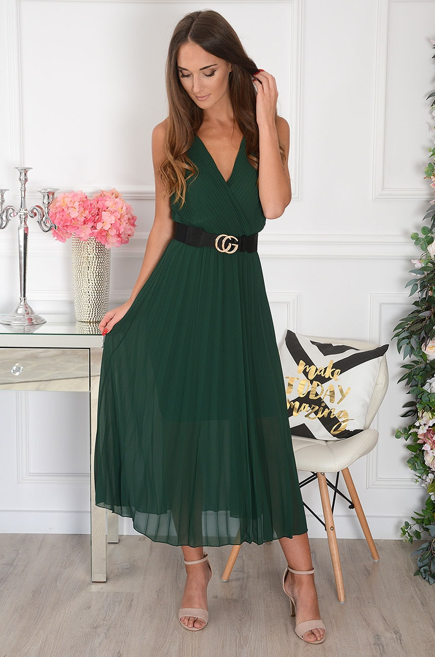 Tmavozelené plisované šaty Aysel