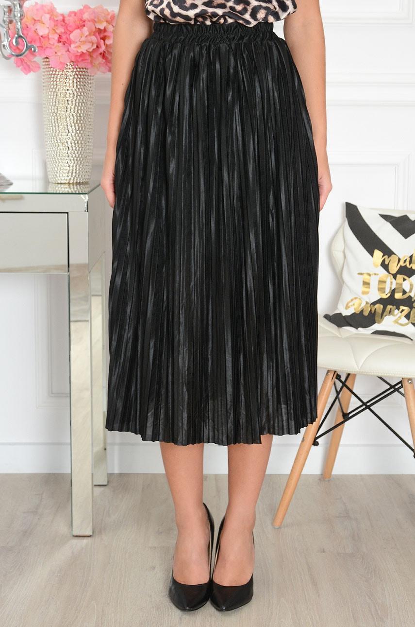 Čierna saténová plisovaná sukňa Cobre