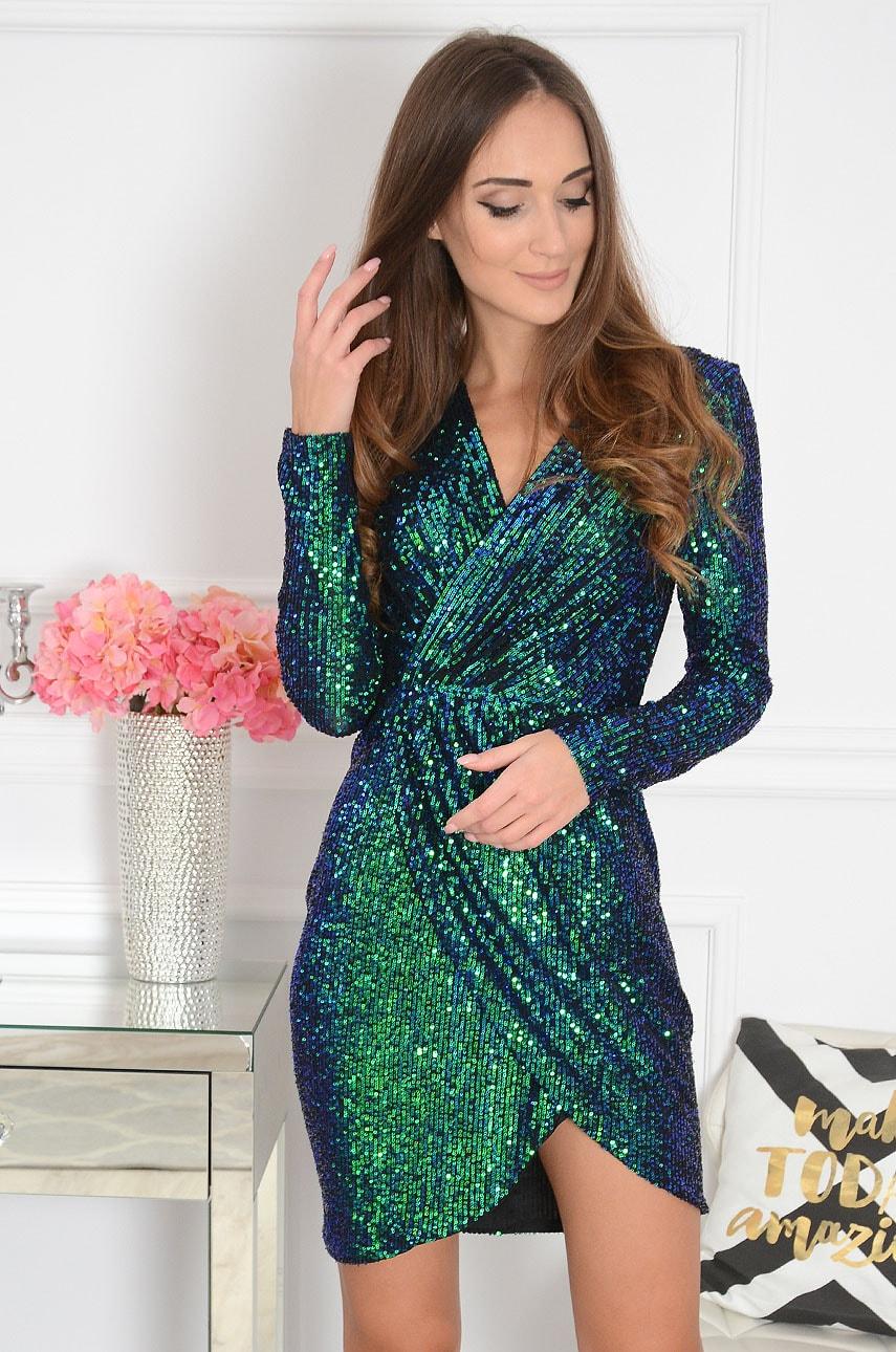 Zeleno-modré flitrované šaty Aria