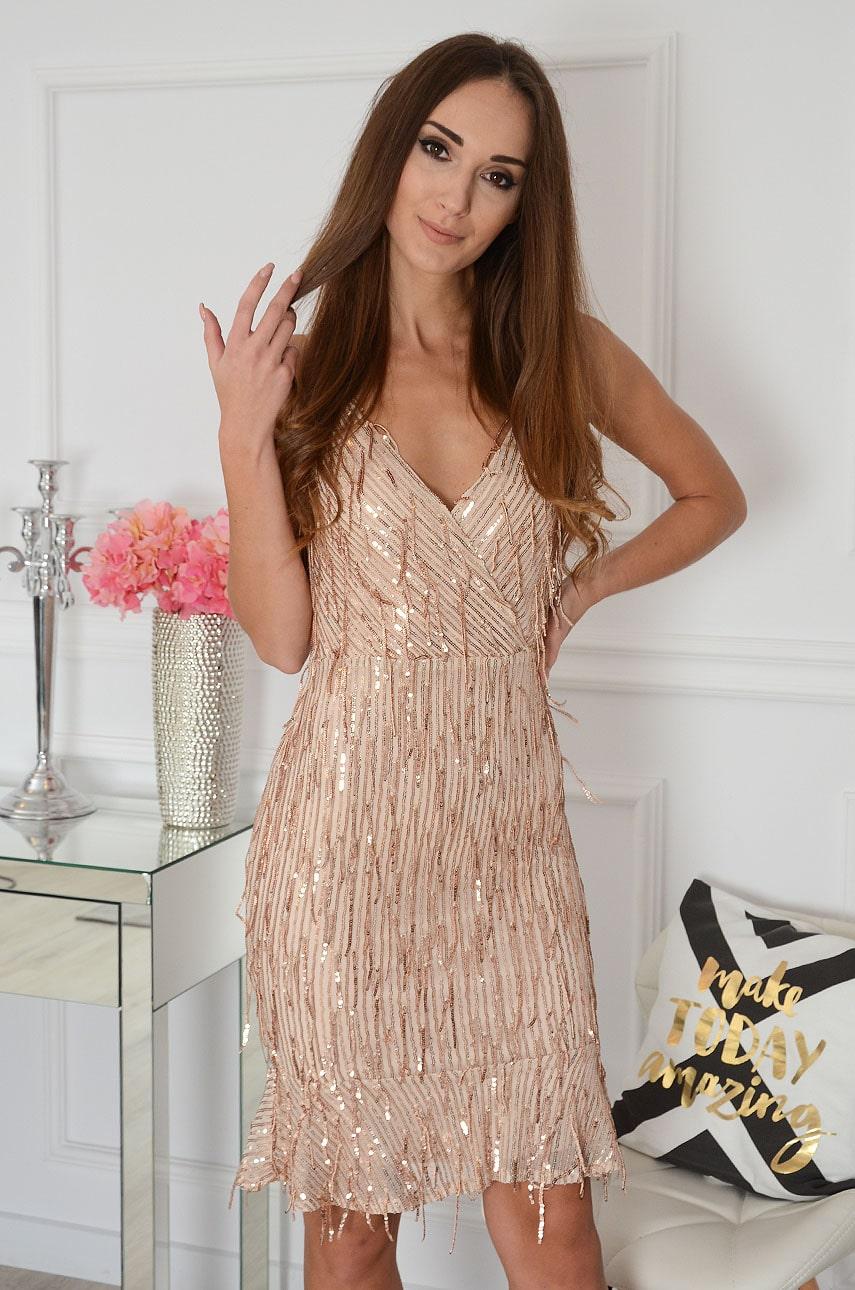Ružovo-zlaté flitrované šaty so strapcami Caitrin