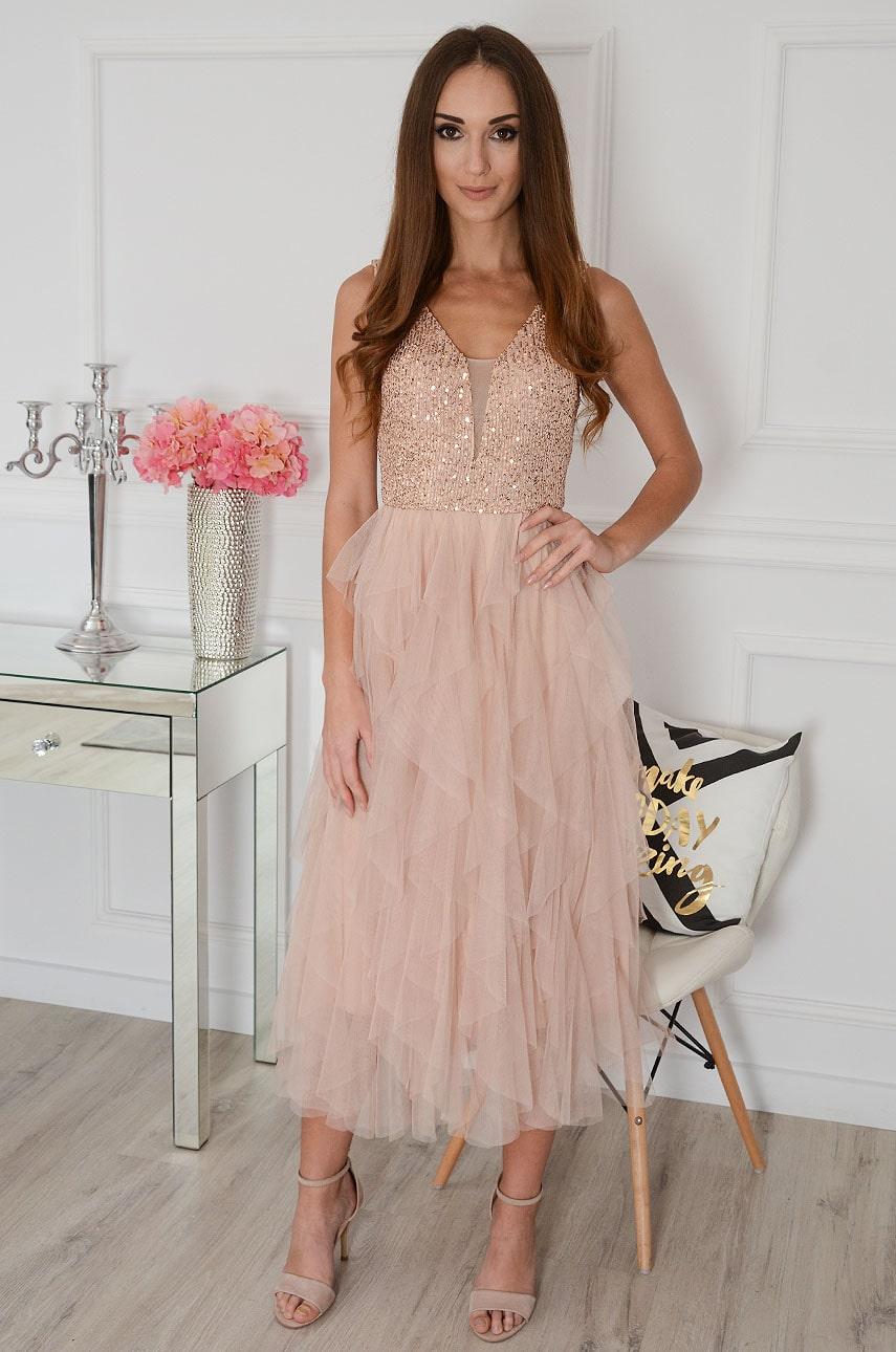 Ružovo-zlaté midi šaty s tylovou sukňou Juanita