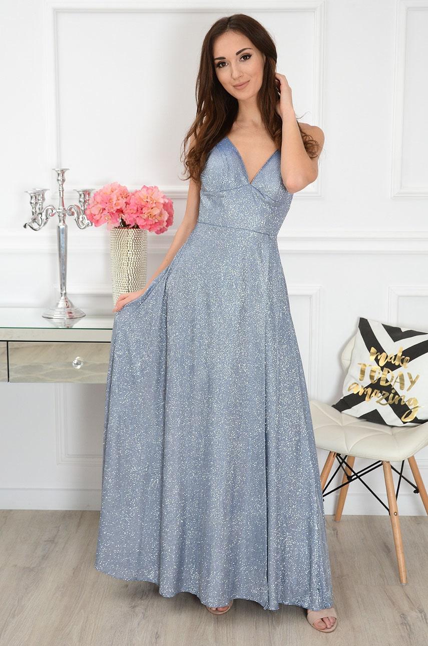 Modré lesklé maxi šaty Doria