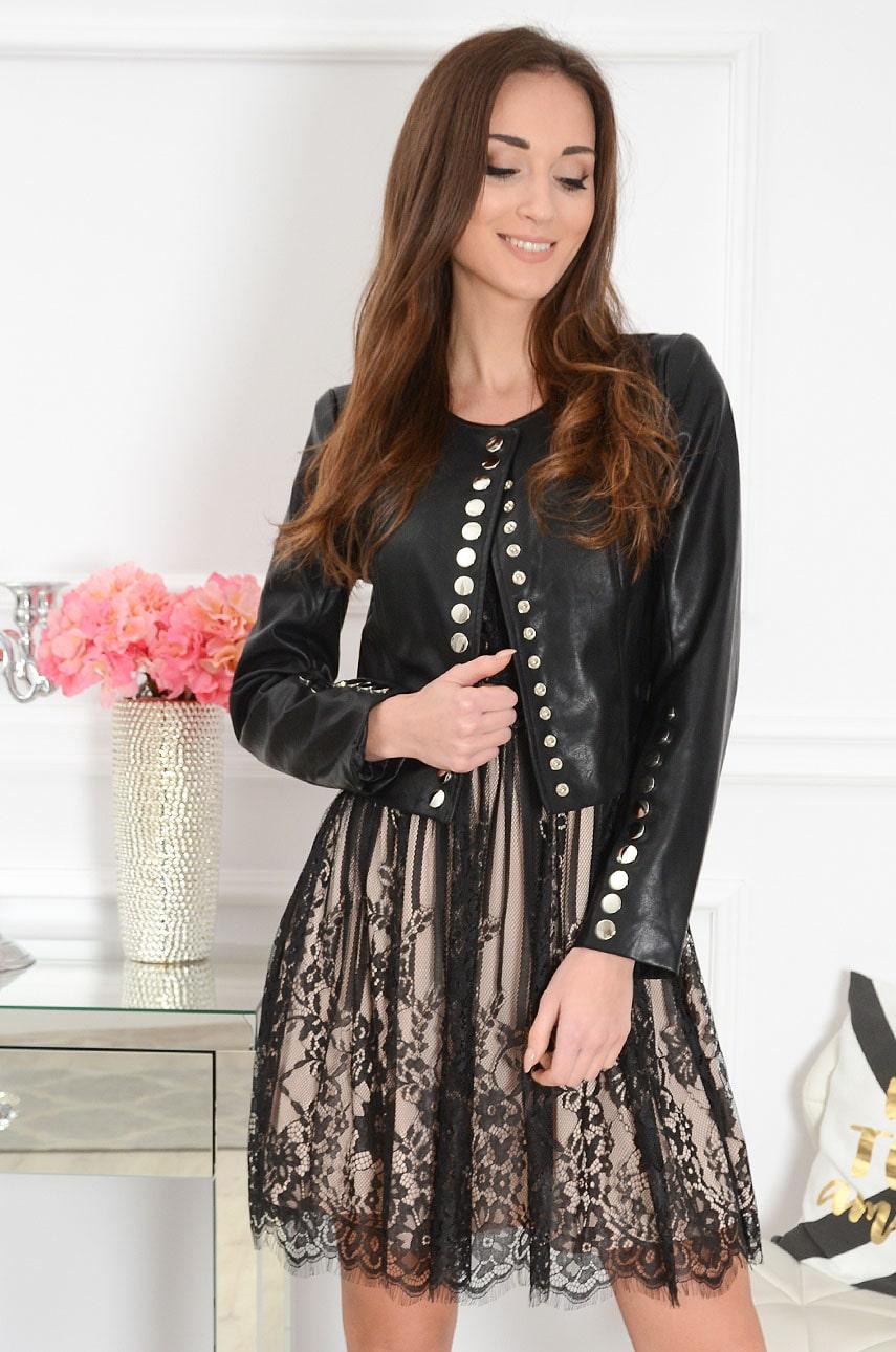 Čierna koženková bunda Kaya