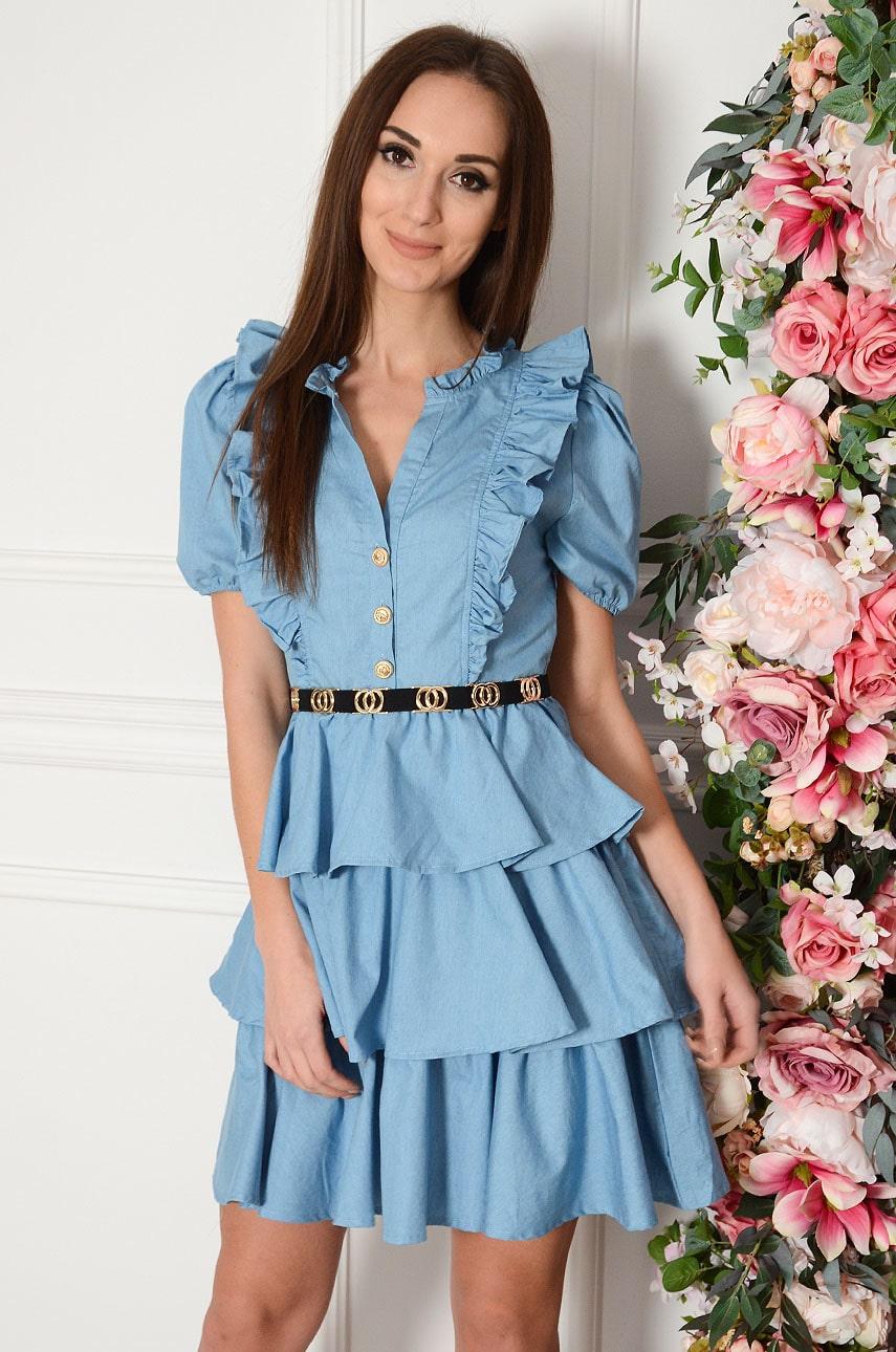 Volánové džínsové šaty Elena