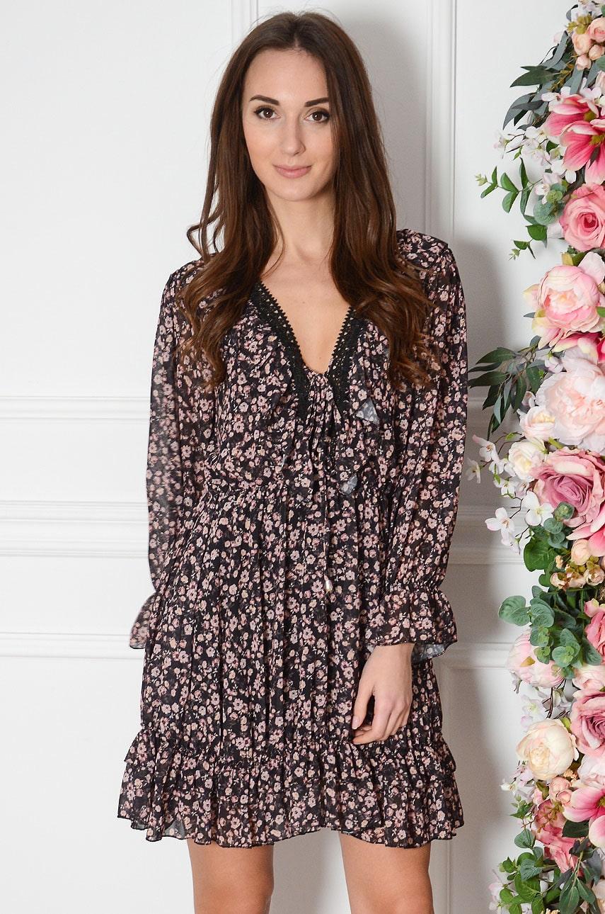 Čierne šifónové šaty s drobnými kvetmi Rosie
