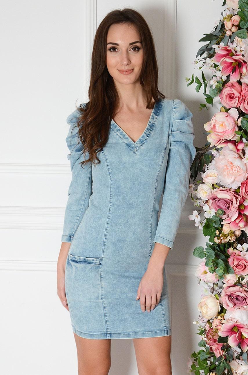 Svetlomodré džínsové šaty s riasenými rukávmi Francese