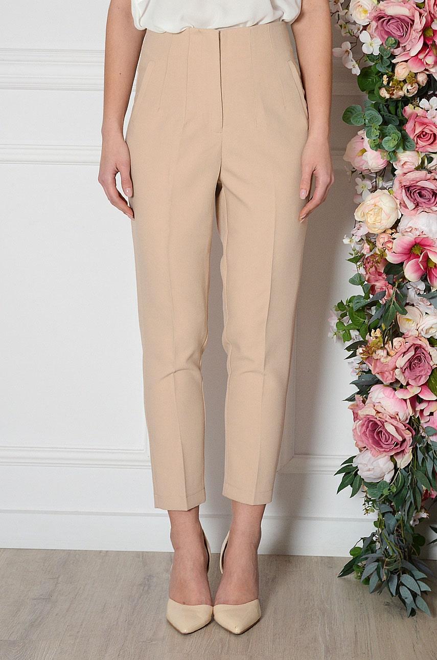 Béžové elegantné nohavice Pomado