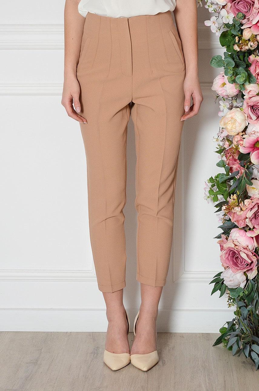 Svetlohnedé elegantné nohavice Pomado