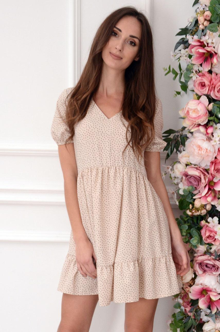 Béžové šaty s bodkami Lyria