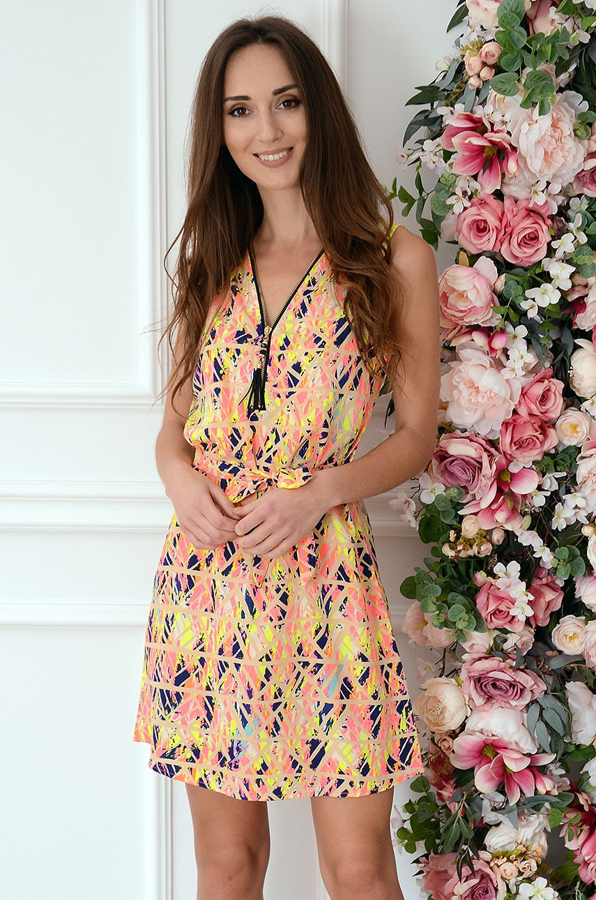 Multifarebné neónové šaty so zipsom Serwina