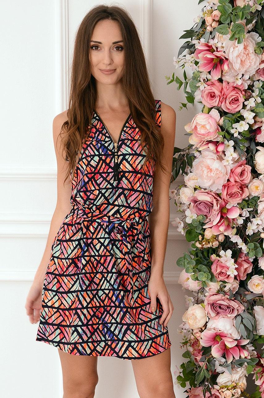 Multifarebné vzorované šaty so zipsom Serwina