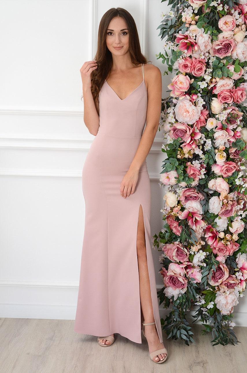 Púdrové maxi šaty s volánom Iliana