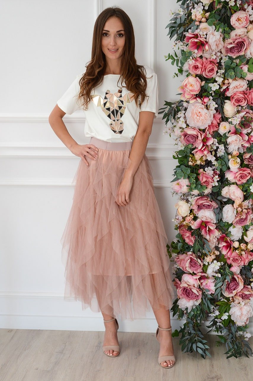 Staroružová tylová sukňa Pola