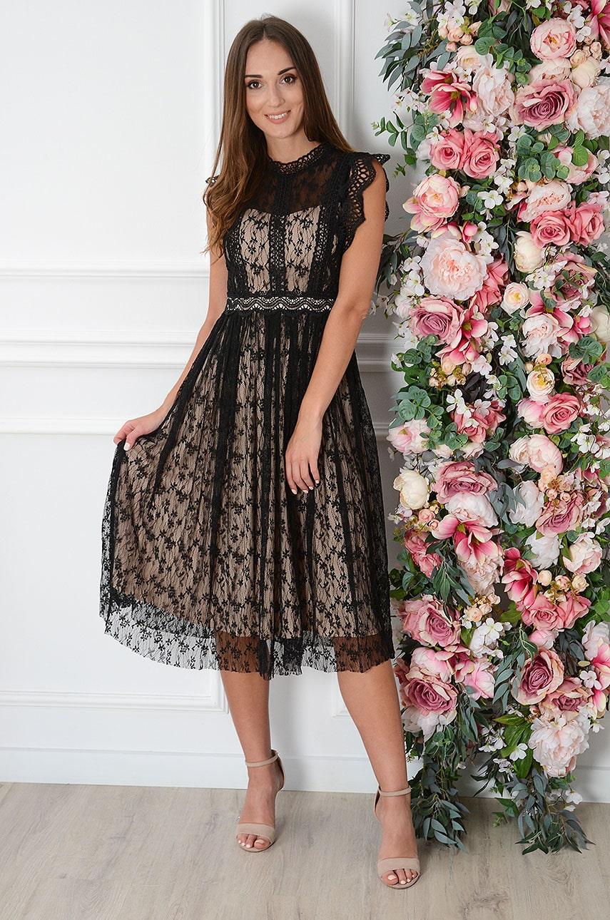 Čierno-béžové krajkové šaty Celia