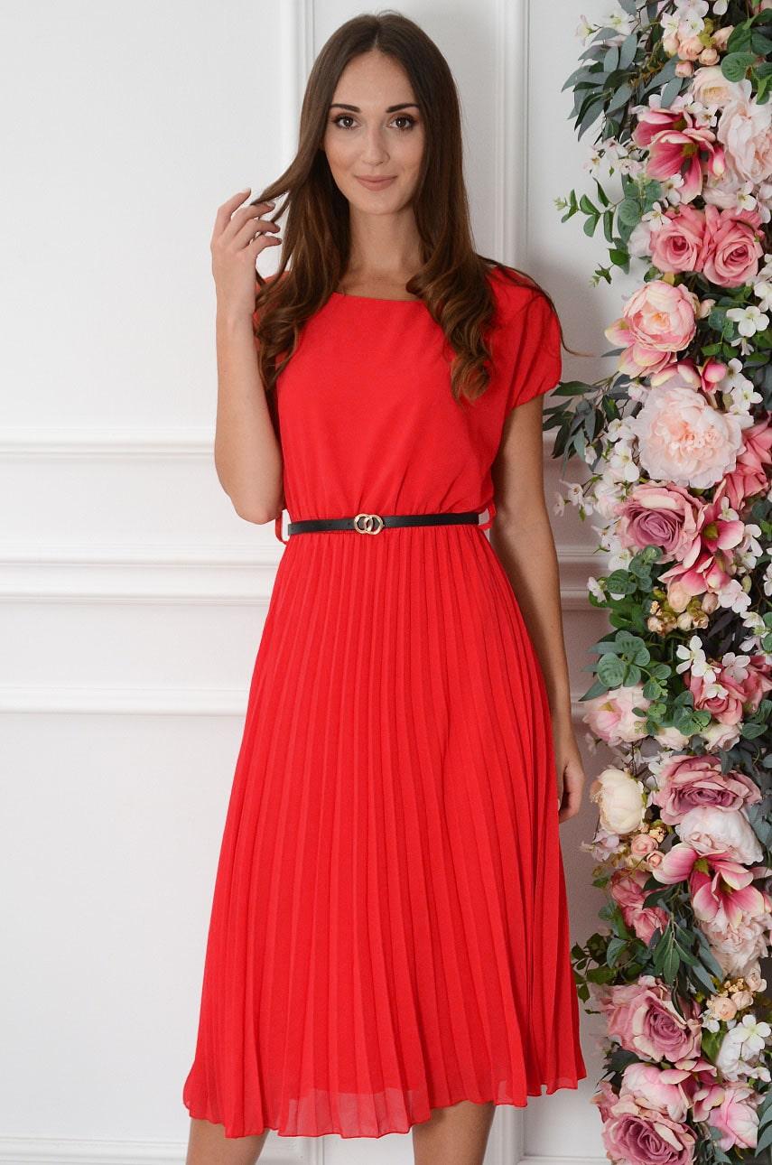 Červené plisované šaty Paloma
