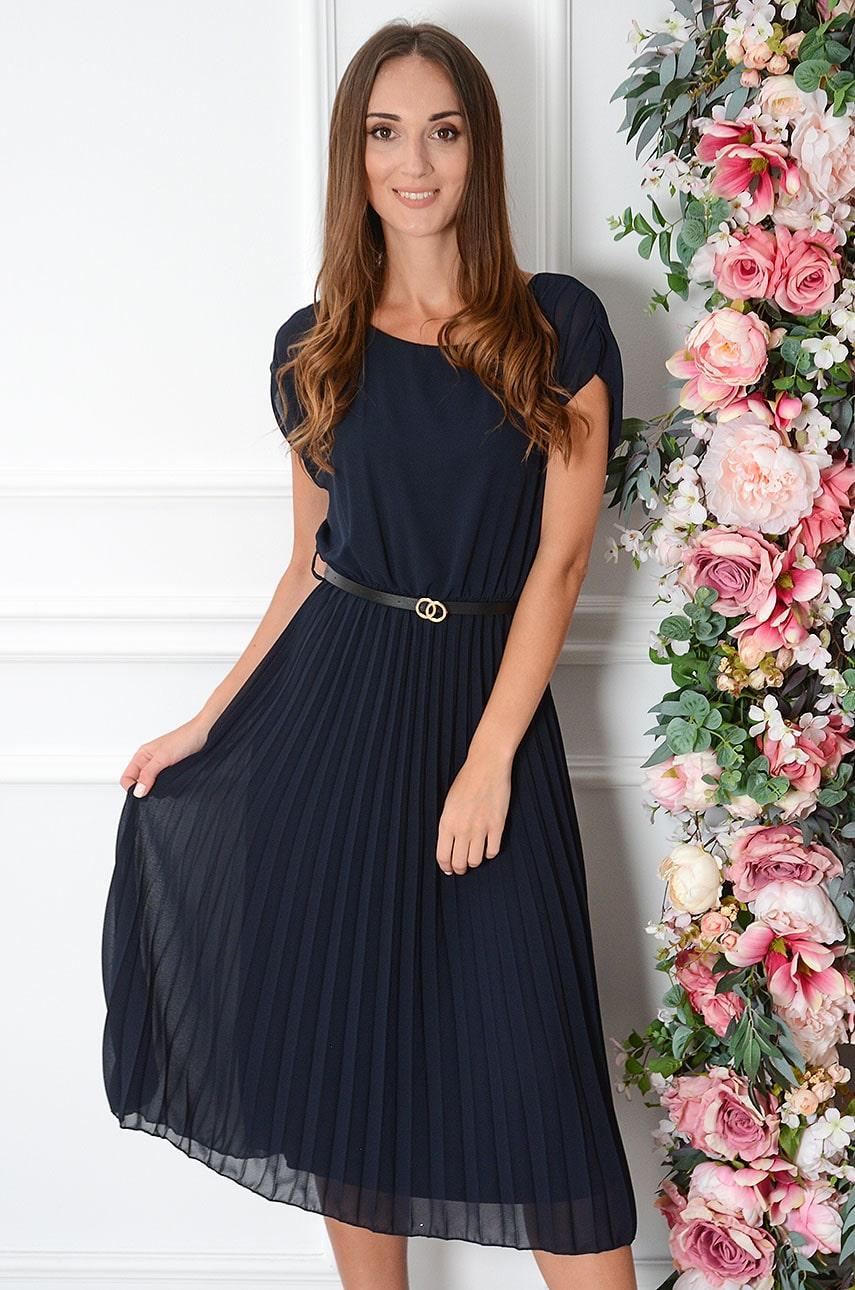 Tmavomodré midi šaty Paloma