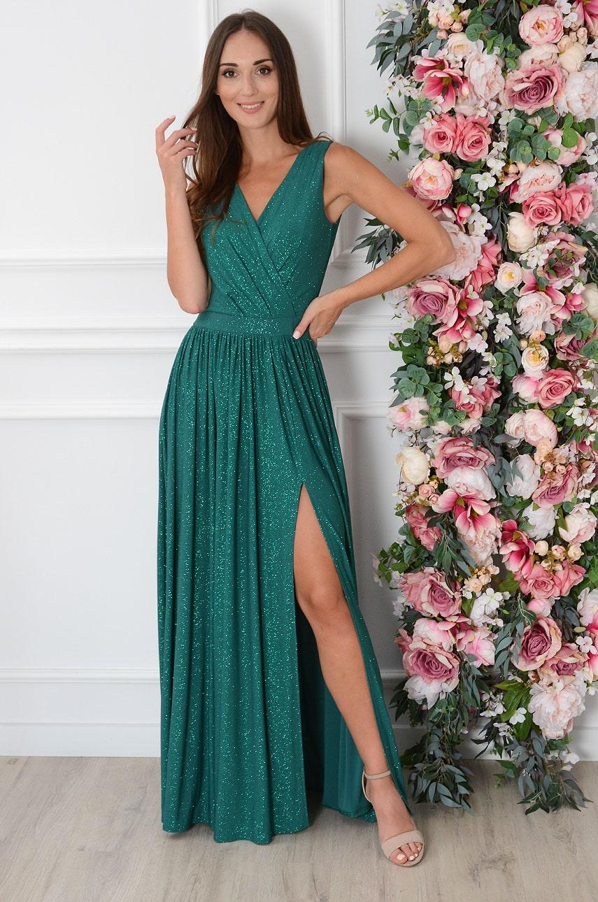 Brokátové spoločenské šaty zelené Lukrecja