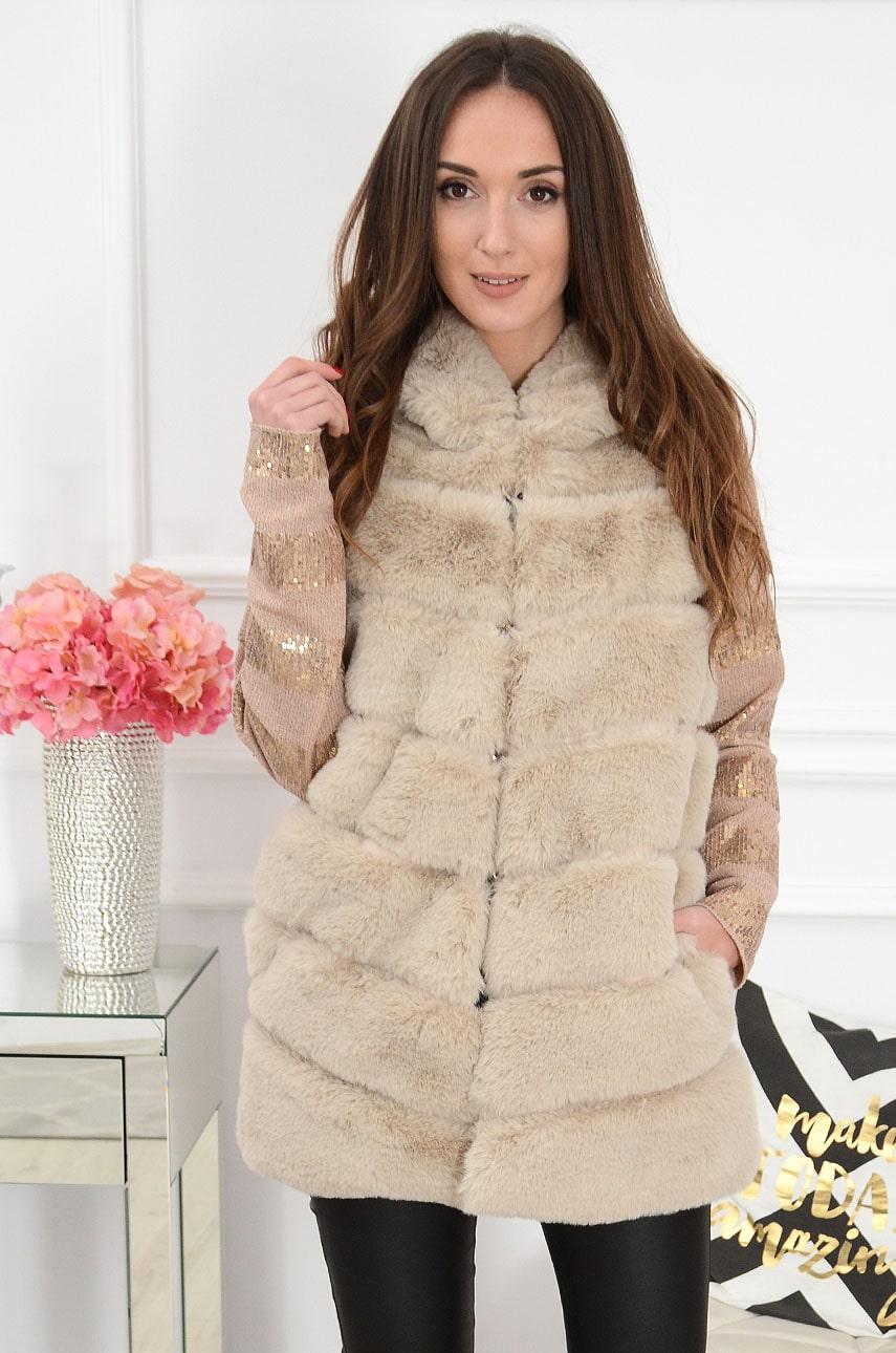 Béžová kožušinová vesta s kapucňou Jodie