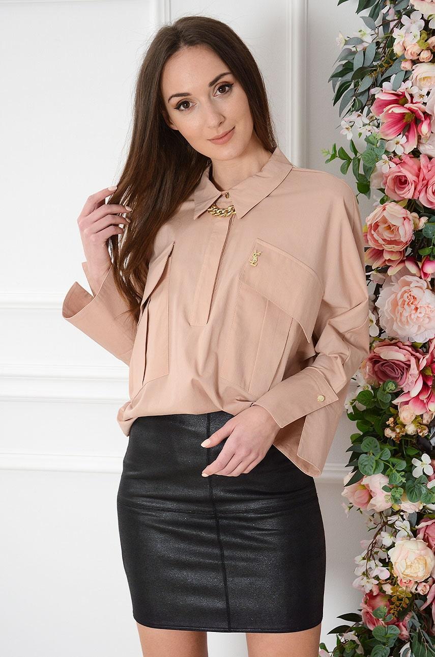 Hnedá oversize košeľa Martha