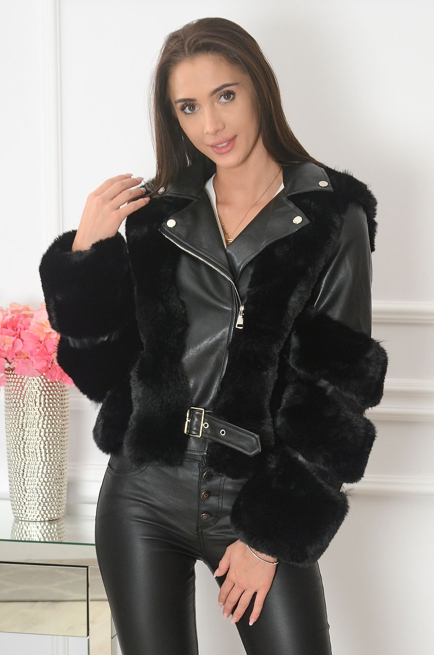 Čierna kožušinová bunda Richer