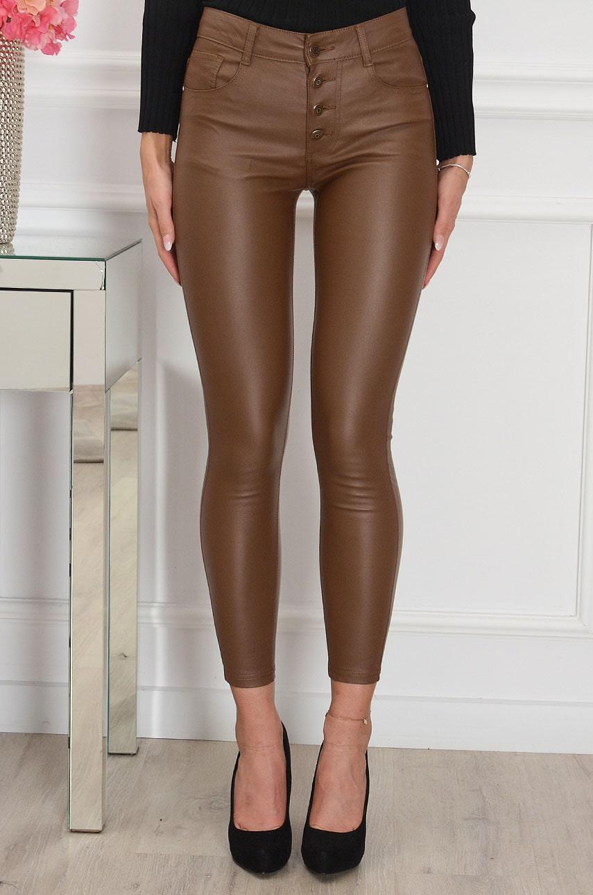 Hnedé voskované nohavice Romme