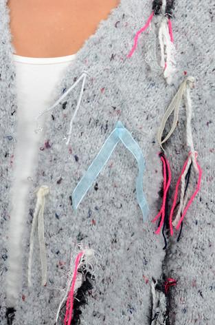 Kardigan Solange z tasiemkami szary