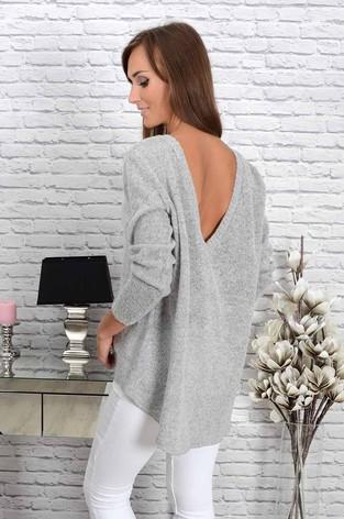 Sweter Amazing dekolt na plecach jasno szary melanż