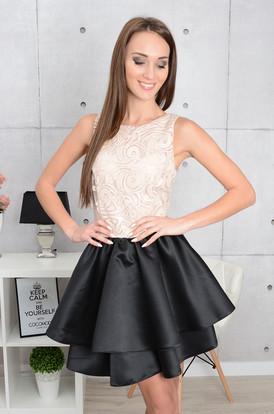 da5521ba524f Sukienka Silvia podwójna falbana pudrowo-czarna ...