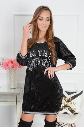 483ad287f6 Sukienka oldschool welurowa Queen czarna ...