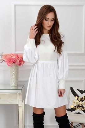 cdd1bd25c0 Sukienka Perlage z marszczonymi rękawami biała ...