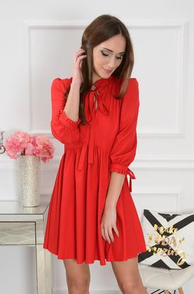 90c7a9a0bb9b Sukienka Marsha z ozdobną stójką czerwona ...