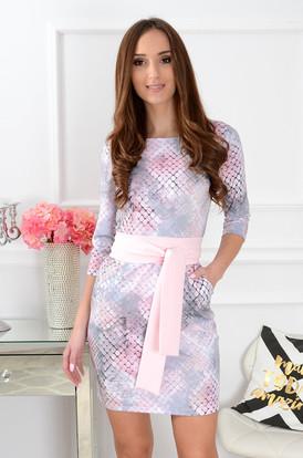 fed1a632411b Sukienka Melanie z szarfą wężowa pudrowa ...